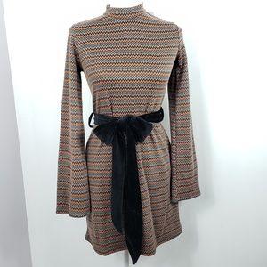 Zara Circular mock turtleneck dress with sash